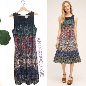Anthro Maeve Larkspur 100% Silk Midi Dress!